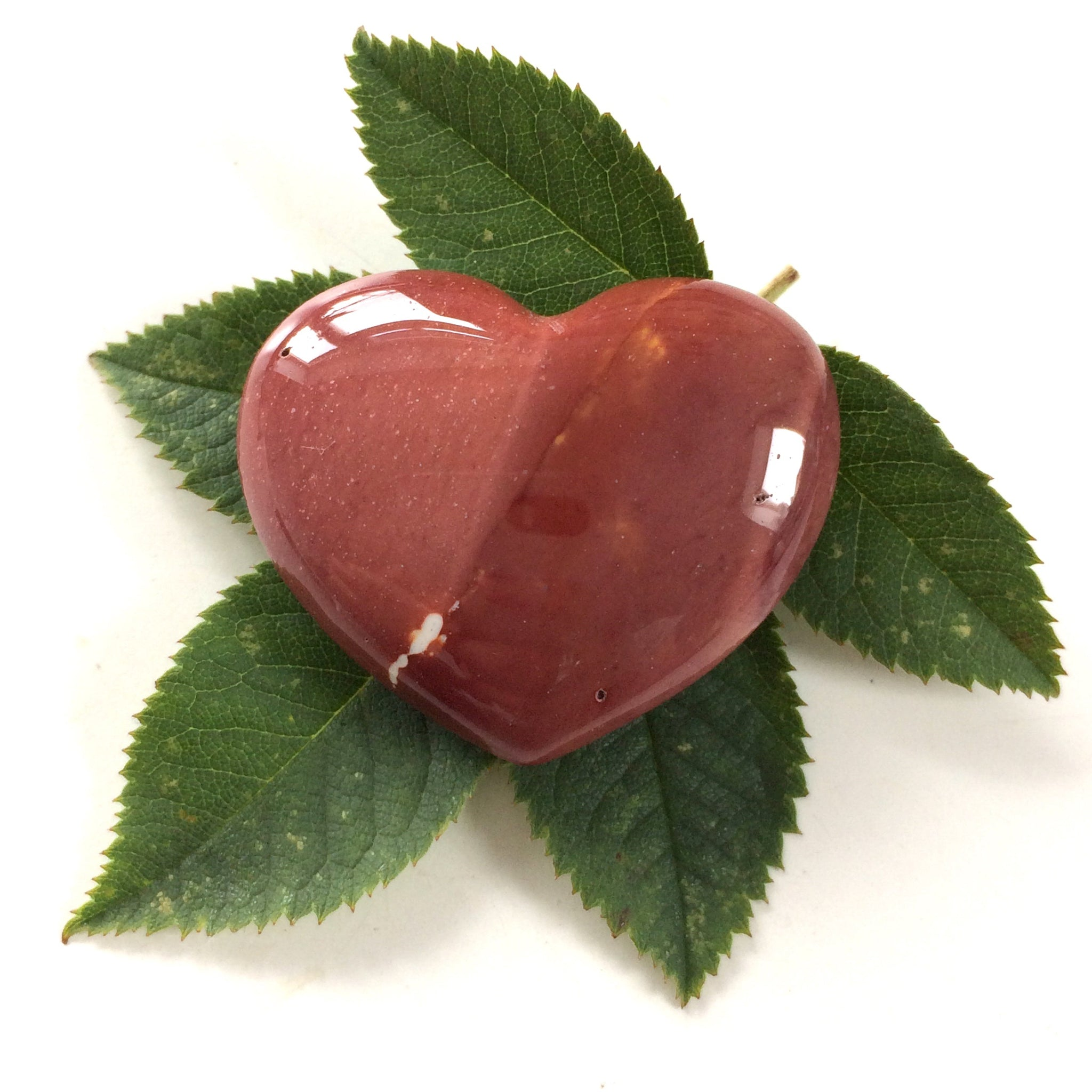 Red mookaite heart shaped smooth palm stone pocket healing 30mm