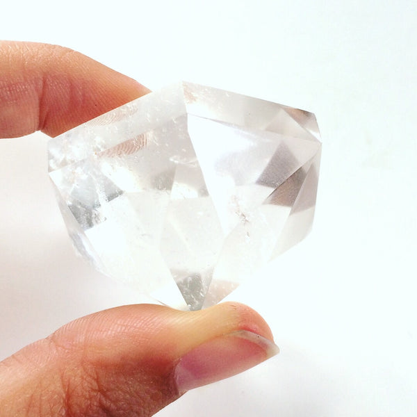 Clear quartz diamond cut crystal stone