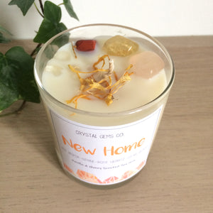 New Home soy wax candle red jasper, Citrine, Rose quartz & clear quartz tumbled stone Fireside scent