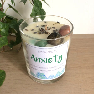 Anxiety soy wax candle Aventurine, Labradorite, Rhodonite, Amazonite tumbled stone Lavender & Frankencense scent