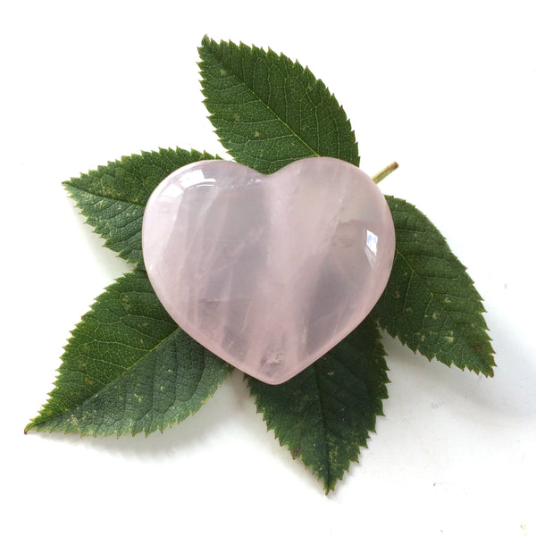 Rose Quartz heart shaped smooth palm stone pocket healing 30mm