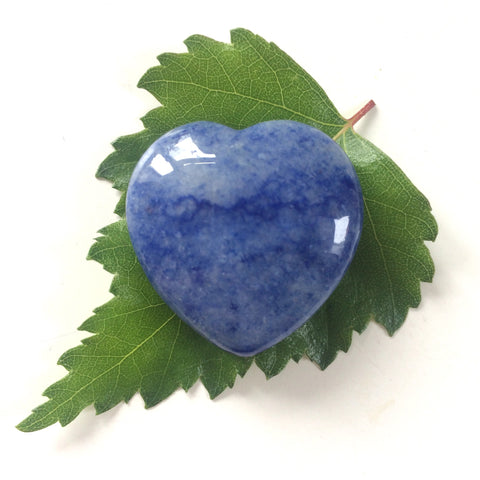 Dumortierite heart shaped smooth palm stone pocket healing 30mm