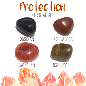 Protection crystal kit 4 tumbled stones with canvas bag