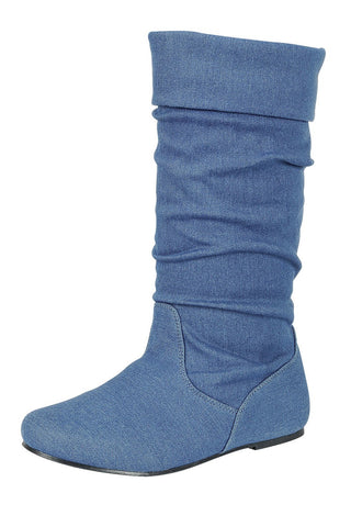 Ruched wedge Boot Blue