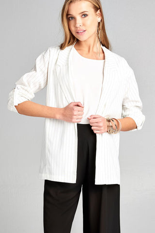 Ladies fashion 3/4 roll up sleeve w/snap button open front w/collar print stripe blazer - myfoxyfarmdesigns.com