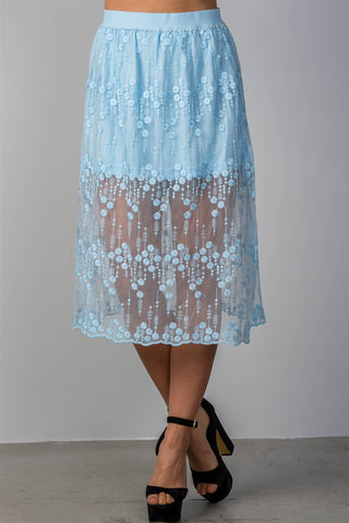 Ladies fashion boho elastic waist lined lace midi skirt - myfoxyfarmdesigns.com