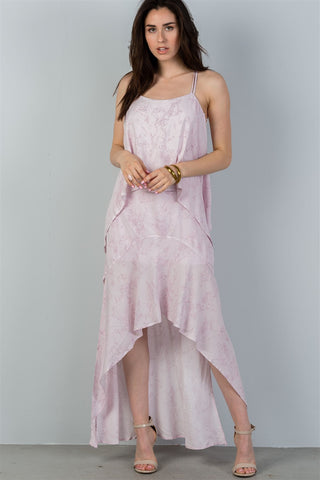 Ladies fashion mauve strappy-low back maxi dress - myfoxyfarmdesigns.com