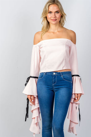 Ladies fashion pink ruffles flare sleeve off the shoulder blouse - myfoxyfarmdesigns.com