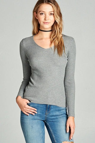 Ladies fashion long sleeve v-neck fitted rib sweater top - myfoxyfarmdesigns.com