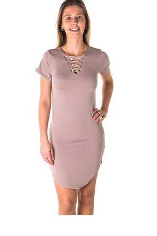 Ladies fashion round hem t shirt dress and lace up v neck - myfoxyfarmdesigns.com