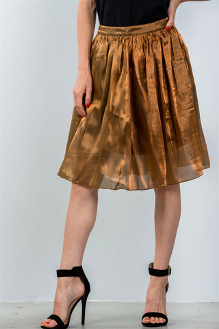 Ladies fashion mid length high waisted bronze pleated midi skirt - myfoxyfarmdesigns.com