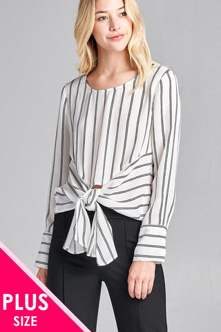Ladies fashion plus size long sleeve round neck front self tie stripe print woven top - myfoxyfarmdesigns.com