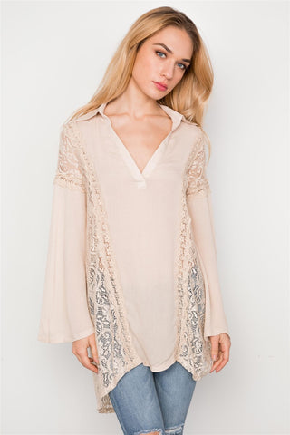 Combo Lace Bell Sleeve Tunic Top - myfoxyfarmdesigns.com