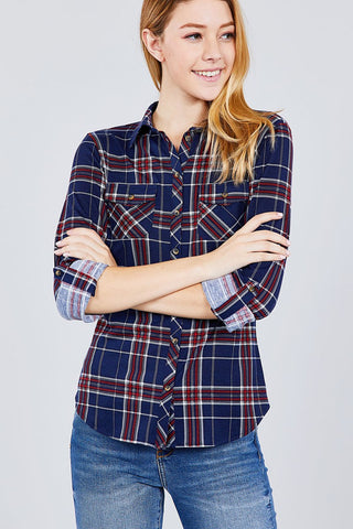 3/4 Roll Up Sleeve Front Pocket Detail Plaid Check Print Stretch Knit Shirts - myfoxyfarmdesigns.com