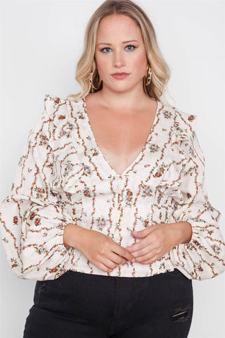 Plus Size Floral V-neck Ruffle Long Sleeve Top - myfoxyfarmdesigns.com