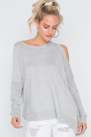 Asymmetrical Hem Seamed Sweater - myfoxyfarmdesigns.com