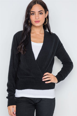 Black Knit Deep V-neck Surplice Long Sleeve Sweater - myfoxyfarmdesigns.com