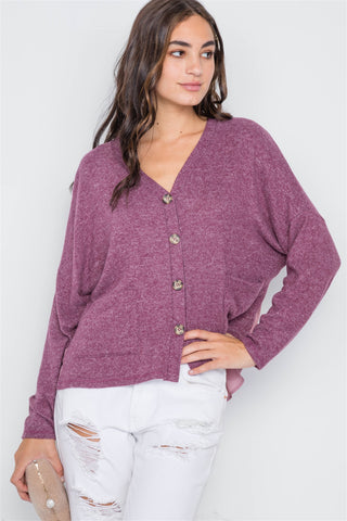 Berry Long Sleeve Cardigan - myfoxyfarmdesigns.com