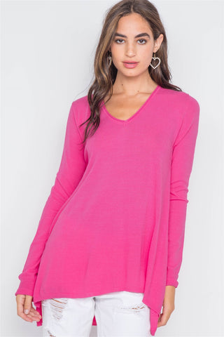 Pink Solid Long Sleeve Sweater - myfoxyfarmdesigns.com