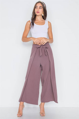 High-waist Front-tie Wide Leg Pants - myfoxyfarmdesigns.com