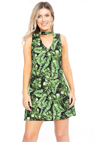 Hawaiian Leaf Print, Sleeveless, A-line Dress - myfoxyfarmdesigns.com