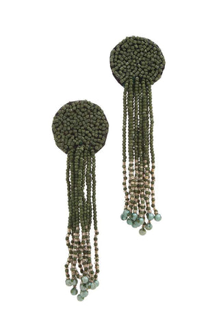 Circle Seed Bead Dangle Post Drop Earring - myfoxyfarmdesigns.com