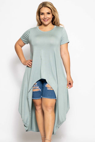 Plus Solid Mint Short Sleeves High Low Top - myfoxyfarmdesigns.com