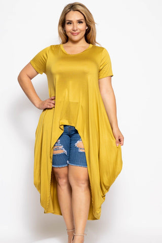 Plus Solid Gold Short Sleeves High Low Top - myfoxyfarmdesigns.com