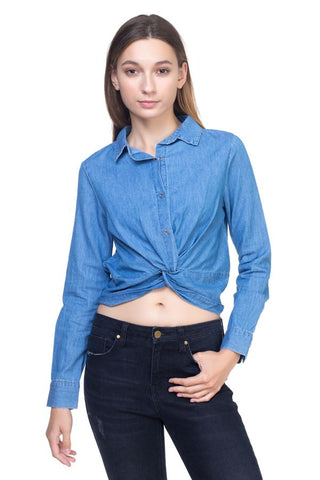 Twist Front Chambray Shirt - myfoxyfarmdesigns-com -
