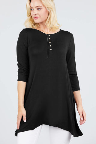 Black 3/4 Sleeve Spandex Top - myfoxyfarmdesigns.com