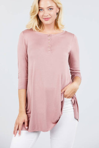 3/4 Sleeve Button Placket Rayon Spandex Top - myfoxyfarmdesigns.com
