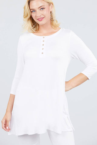 White 3/4 Sleeve Spandex Top - myfoxyfarmdesigns.com