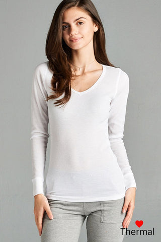 Long Sleeve V-neck Thermal Top - myfoxyfarmdesigns.com