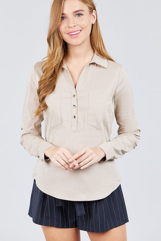 3/4 Roll Up Sleeve Front Two Pocket W/button Detail Stretch Shirt - myfoxyfarmdesigns-com -