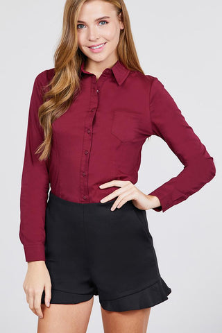 Long Sleeve Princess Line One Side Pocket Button Down Woven Shirts - myfoxyfarmdesigns-com -