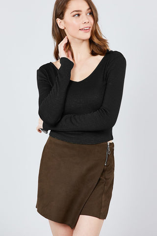 Long Sleeve Double V-neck Rib Knit Top - myfoxyfarmdesigns.com