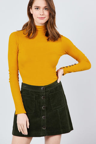 Long Sleeve W/button Detail Mock Neck Rib Knit Top - myfoxyfarmdesigns.com