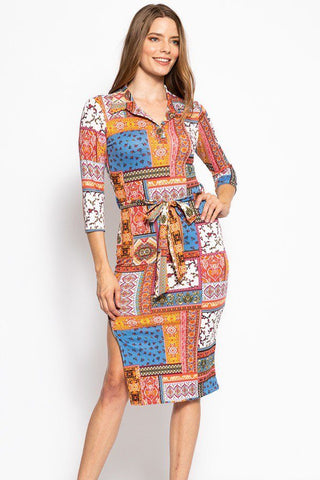 Print, Midi Tee Dress With 3/4 Sleeves, Collared V Neckline, Decorative Button, Matching Belt And A Side Slit - myfoxyfarmdesigns-com -