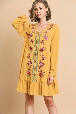 Floral Embroidered Long Sleeve V-neck Ruffle Hem Dress With Sleeve Ties And Crochet Details - myfoxyfarmdesigns.com