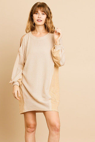 Long Sleeve Waffle Knit Open Shoulder Dress With Heathered Side Panels - myfoxyfarmdesigns.com