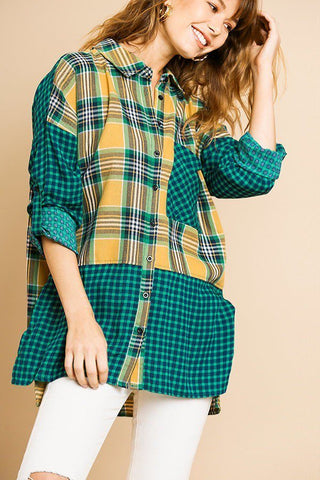 Plaid And Checkered Print Long Roll Up Sleeve Button Front Collared Top With Chest Pocket - myfoxyfarmdesigns.com