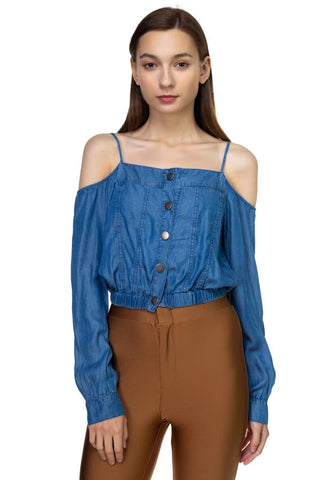 Blue Cold Shoulder Button Shirt - myfoxyfarmdesigns.com