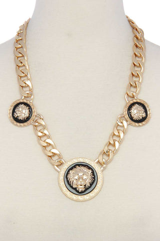 Lion Cuban Chain Short Necklace - myfoxyfarmdesigns.com