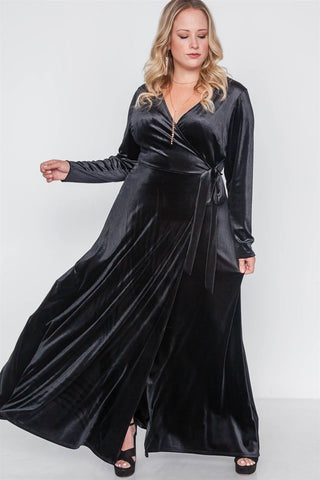 Plus Size Velvet Surplice Neck Maxi Dress - myfoxyfarmdesigns.com