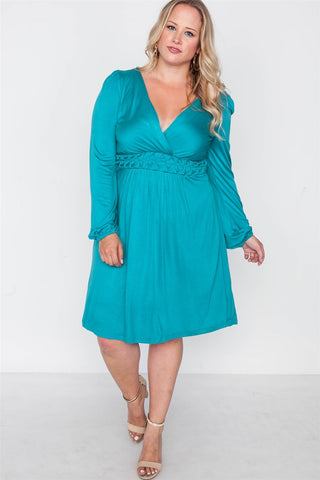 Plus Size Shoreline Turquoise Ling Sleeve Dress - myfoxyfarmdesigns-com -