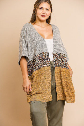 Short Sleeve Knit And Animal Print Color Blocked Open Front Kimono - myfoxyfarmdesigns.com