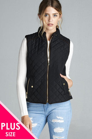 Quilted Padding Vest With Suede Piping Details - myfoxyfarmdesigns-com -
