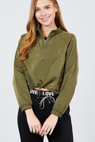 Long Raglan Sleeve Mock Neck Toggle Elastic Hem Wind Breaker Crop To