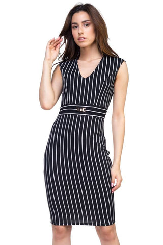 Stripe Belted Dress - myfoxyfarmdesigns.com