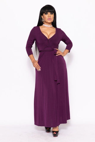 Solid, V-neck Maxi Dress - myfoxyfarmdesigns.com